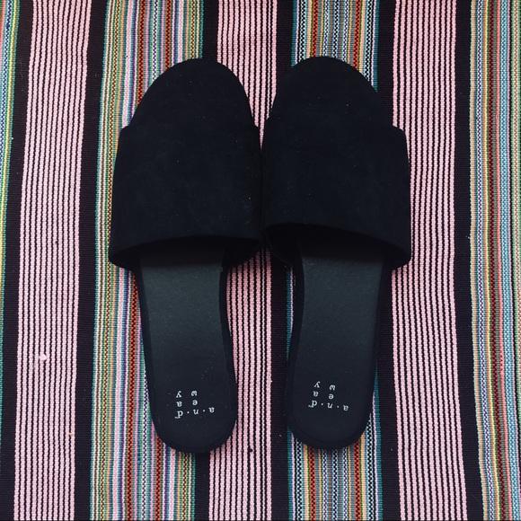 Target Faux Suede Black Slides